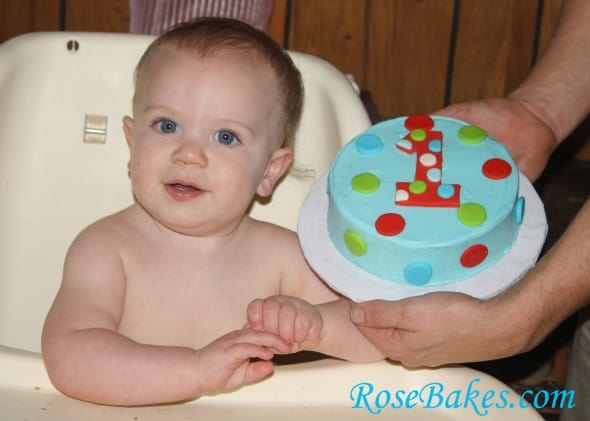 Asher with 1st Birthday Smash Cake