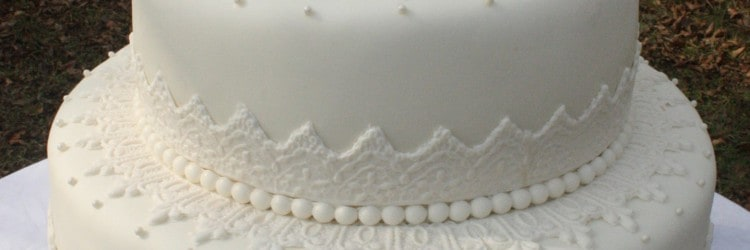 Kristen Lace Wedding Cake Outside Front with Copyright