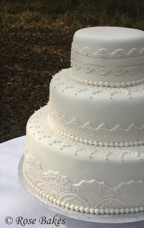 wedding cakes lace and pearl lace wedding cake 24864