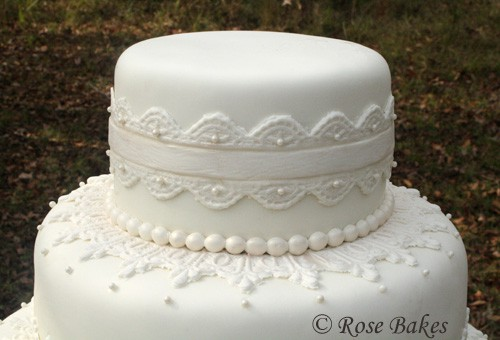 using top tier of wedding cake for christening lace wedding cake 21515