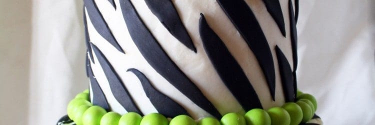 Lime Green Zebra Stripes Crazy Bow Cake