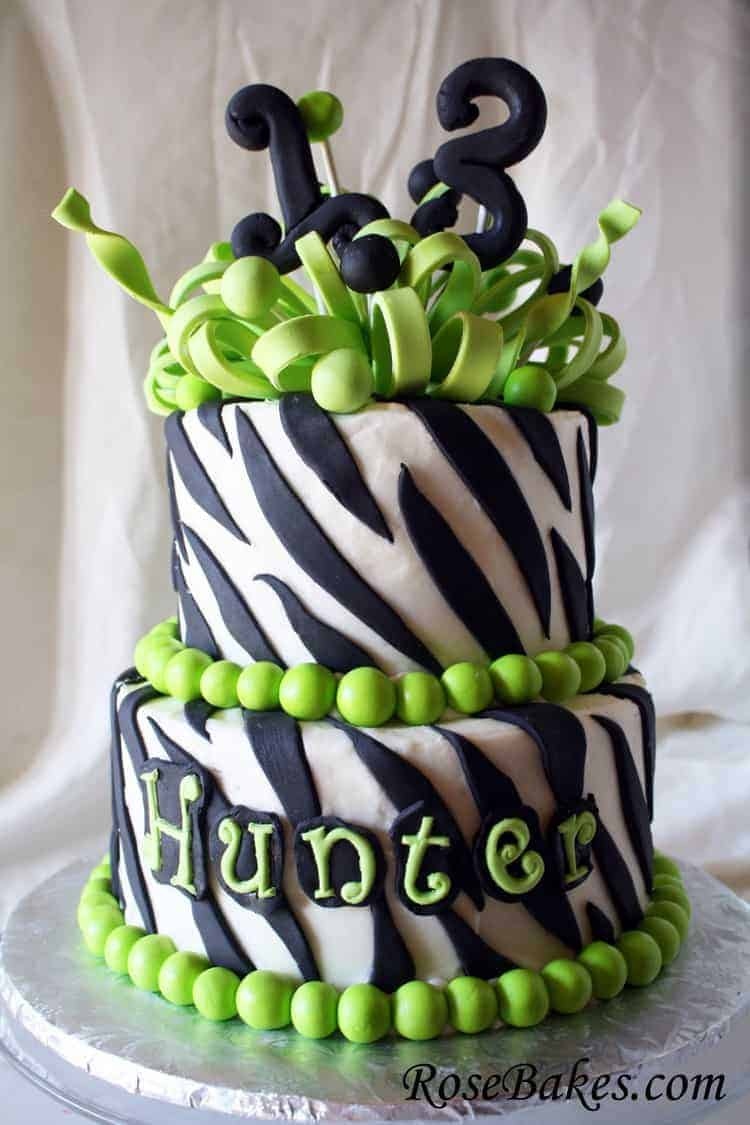 13th Birthday Cake Zebra Stripes A Frilly Bow And Lime Green