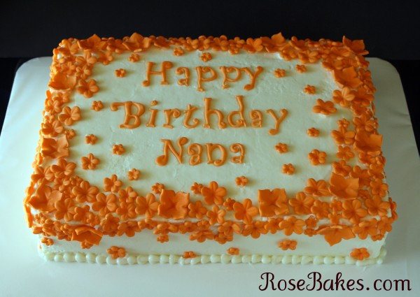 Wondrous Flurries Of Orange Flowers Birthday Cake Funny Birthday Cards Online Aeocydamsfinfo