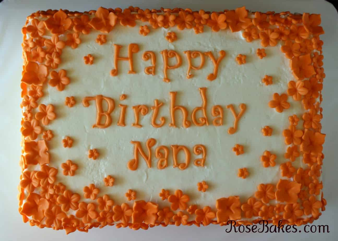 Flurries Of Orange Flowers Birthday Cake