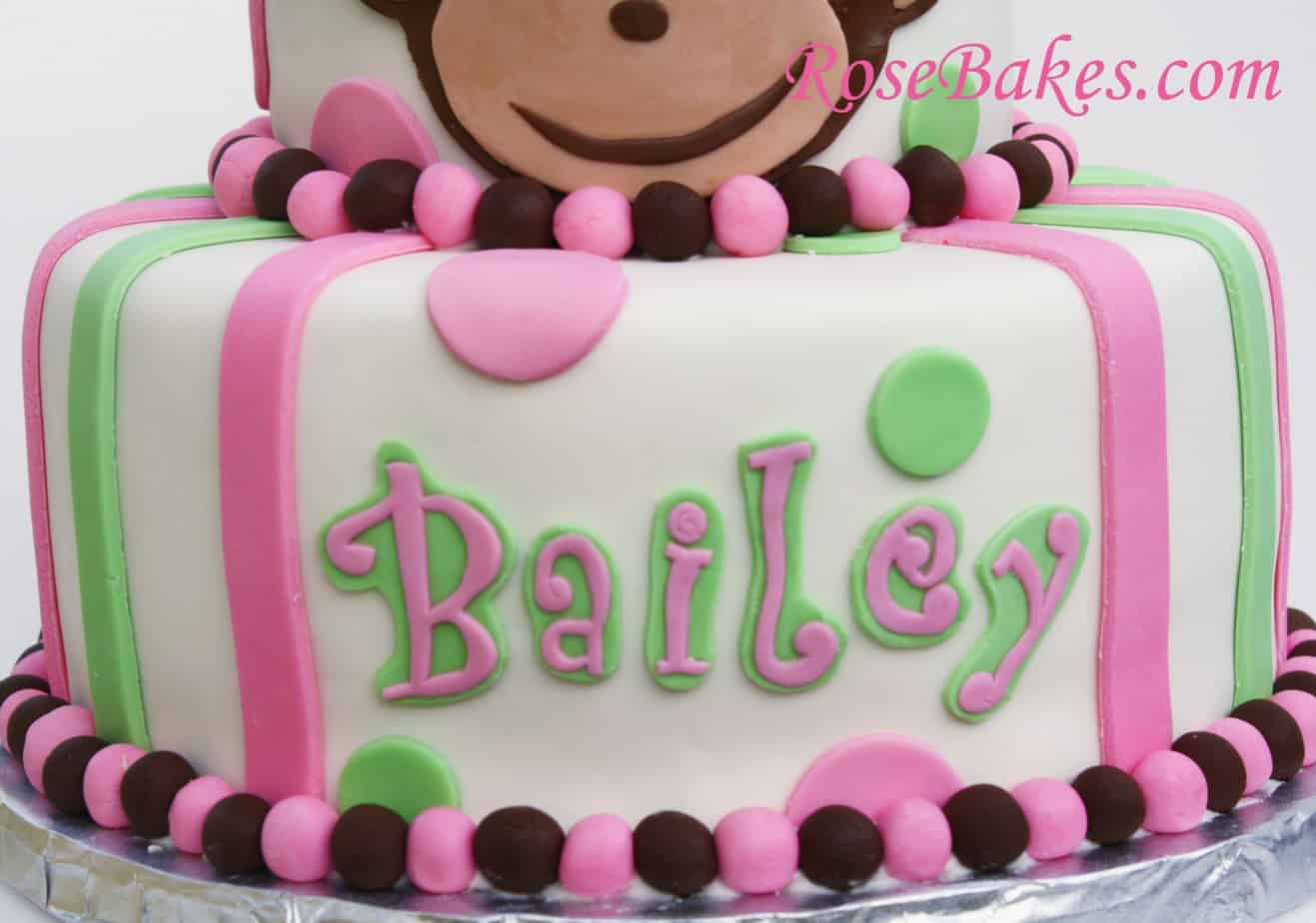 Pink Mod Monkey Cake Picture Bottom Rose Bakes
