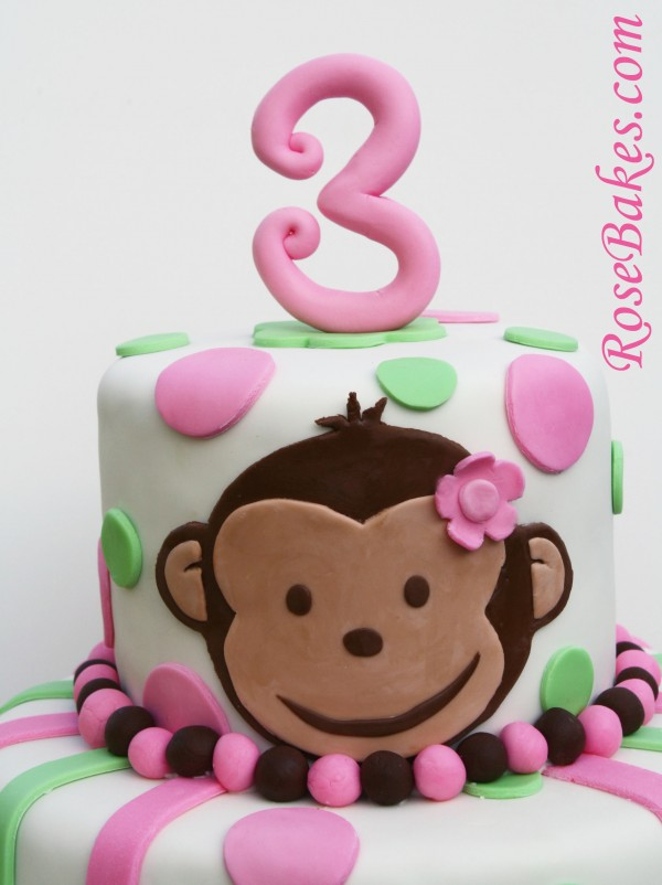Pink Mod Monkey Cake Top Picture