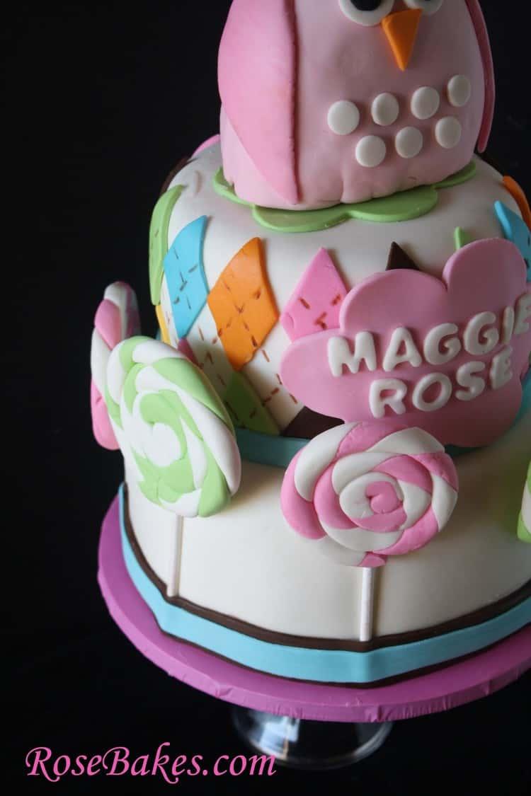 Pink Owl Argyle Lollipops Baby Shower Cake Angle Rose Bakes