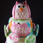Pink Owl Argyle Lollipops Baby Shower Cake