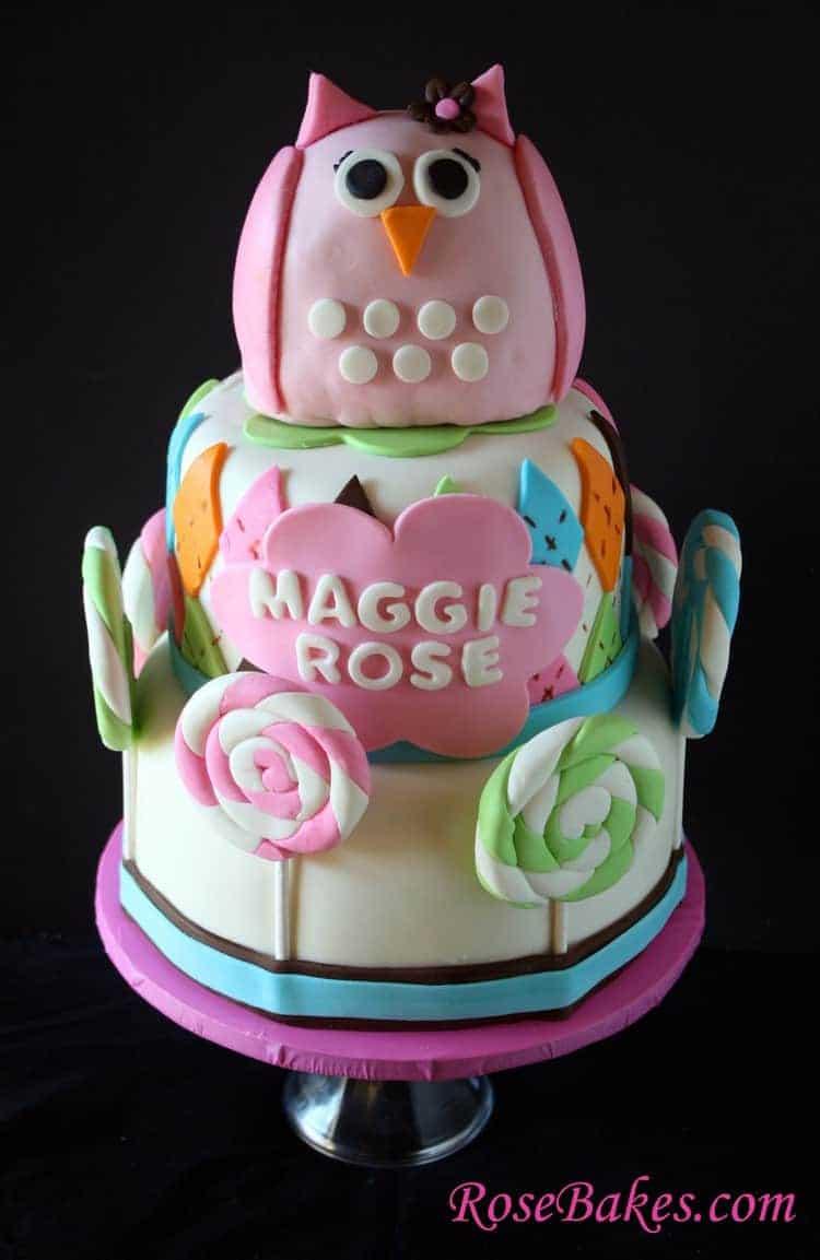 pink owl argyle lollipops baby shower cake rose bakes