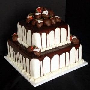 Red Velvet Grooms Cake with Ganache & Strawberries