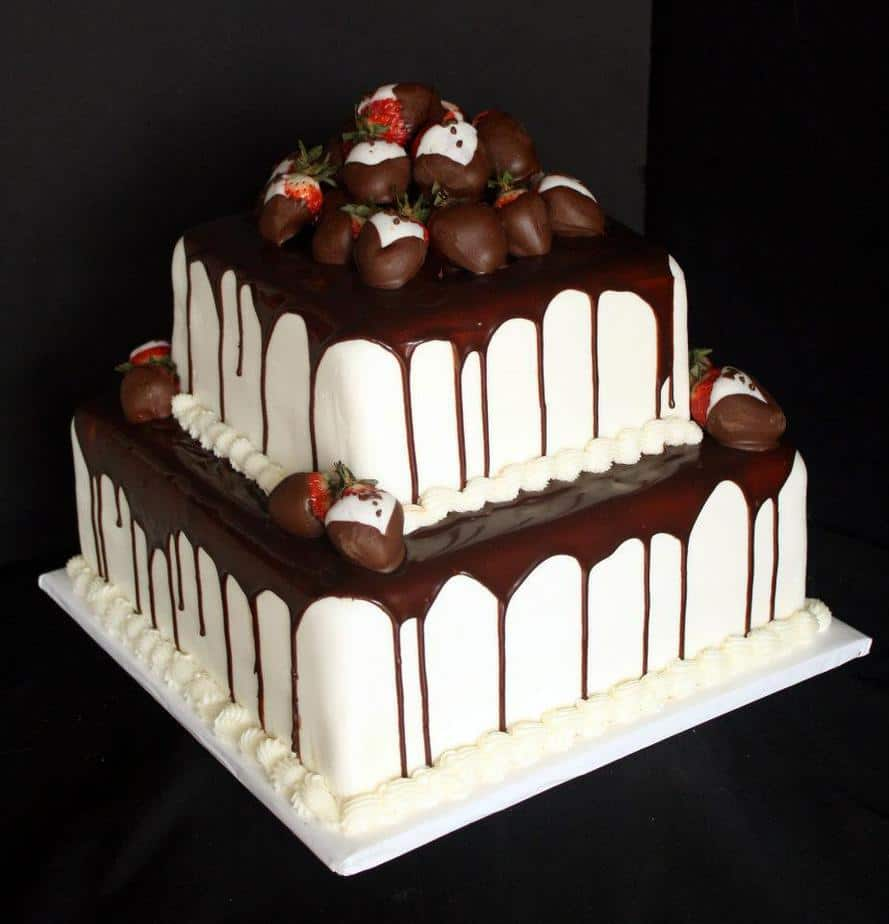 Red Velvet Groom's Cake with Ganache & Strawberries