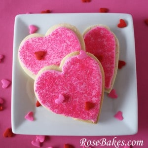 Valentines Cookies on Square Plate