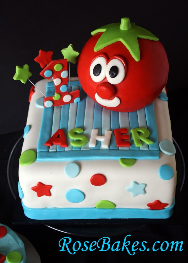 Super Veggietales Bob The Tomato 1St Birthday Cake Personalised Birthday Cards Veneteletsinfo