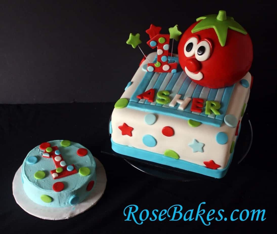 VeggieTales Bob the Tomato 1st Birthday Cake with Smash Cake