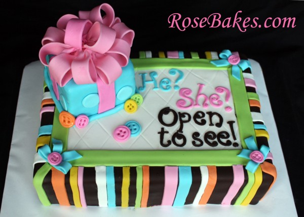 Baby Gender Reveal Cake Above
