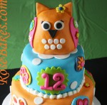 Bright Owl Flowers Cake 1