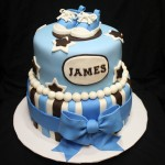 Brown & Blue Baby Converse Shower Cake Angle