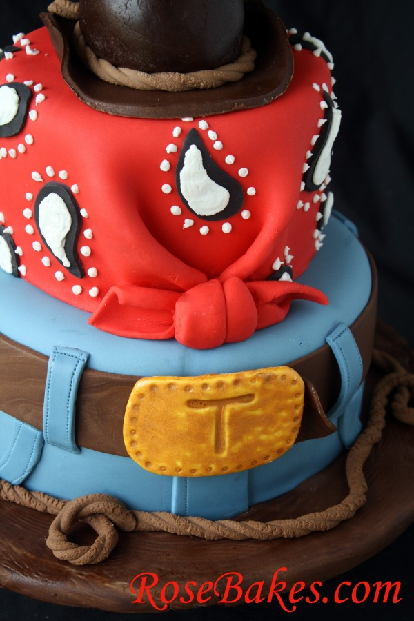Cowboy Cake with Jeans Bandana Hat