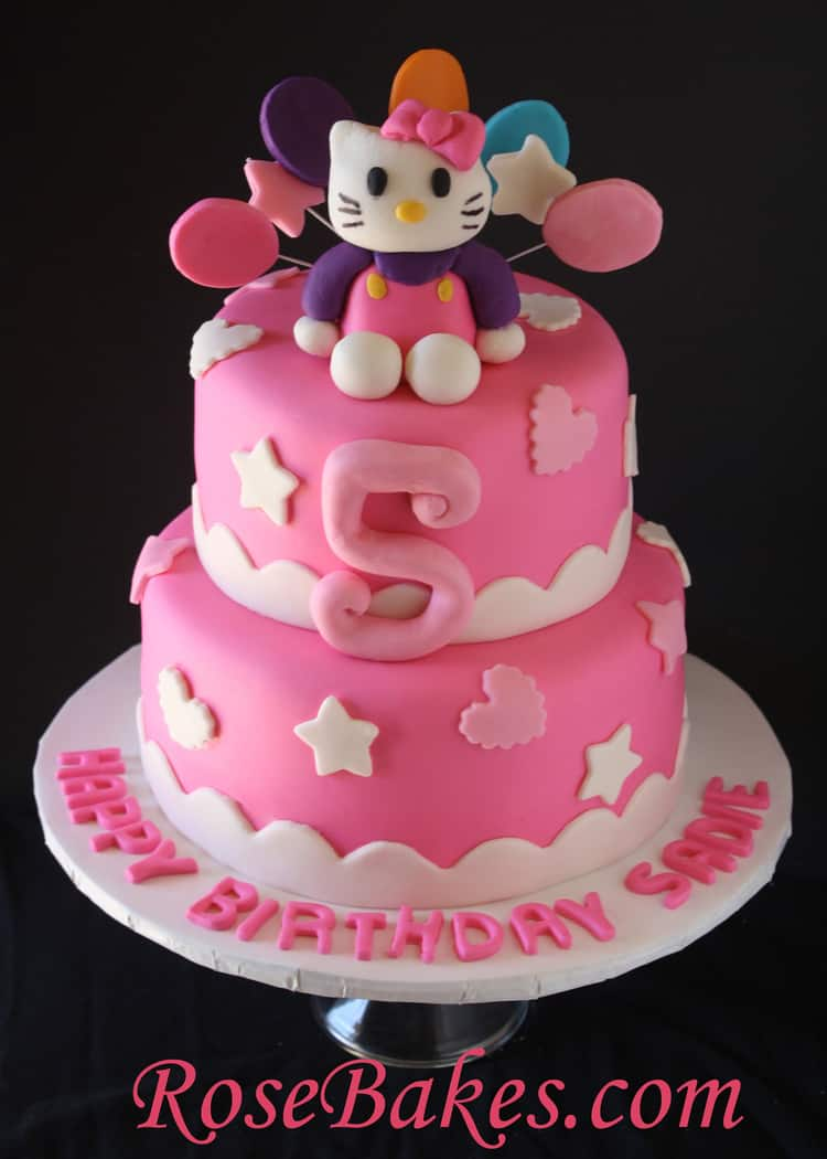 Amazing Hello Kitty Birthday Cake Front Rose Bakes Personalised Birthday Cards Cominlily Jamesorg