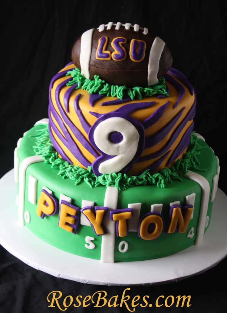 Lsu Birthday Cake With Football Rose Bakes