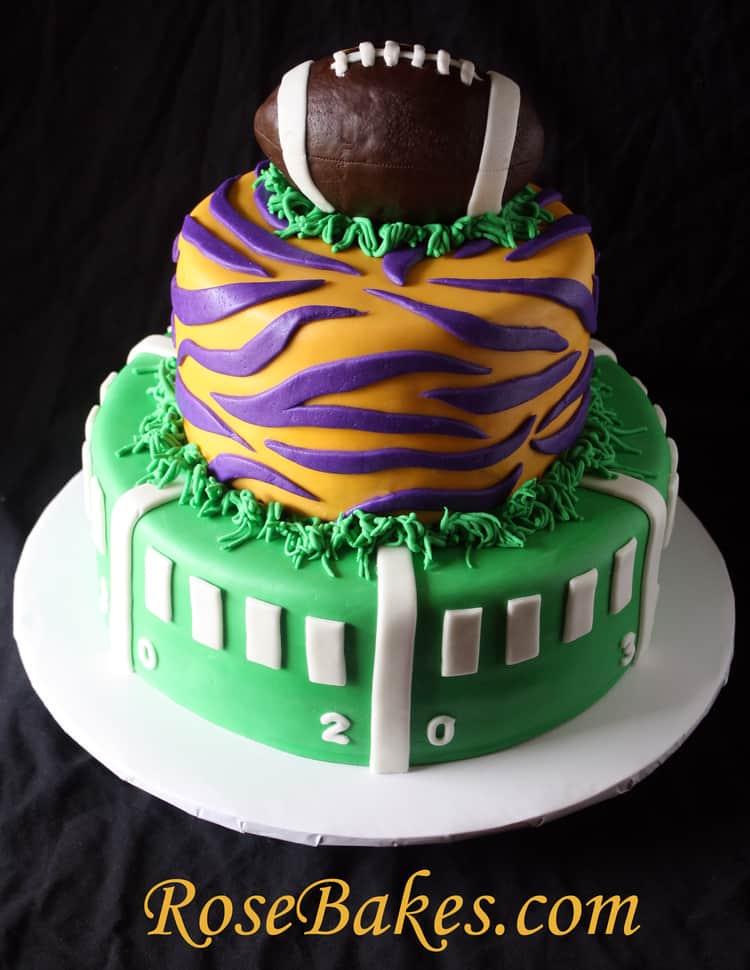 Lsu Football Birthday Cake Back Rose Bakes