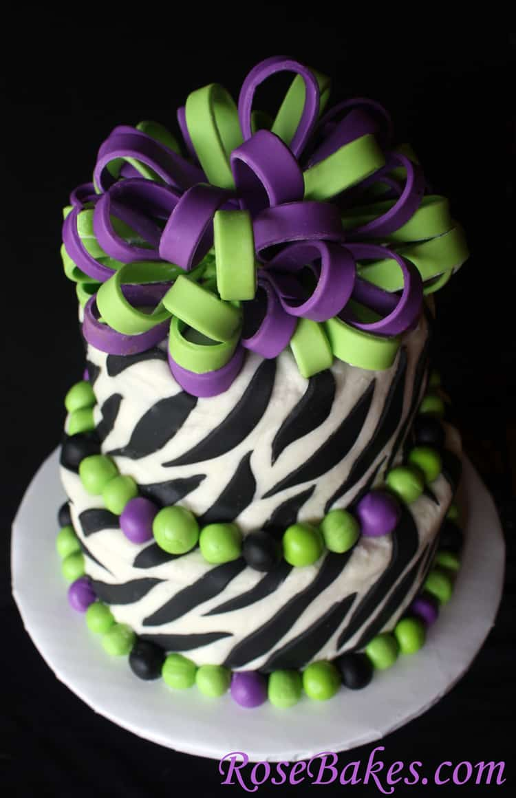 Purple Zebra Cake Design : Lime Green & Purple Zebra Cake Above - Rose Bakes