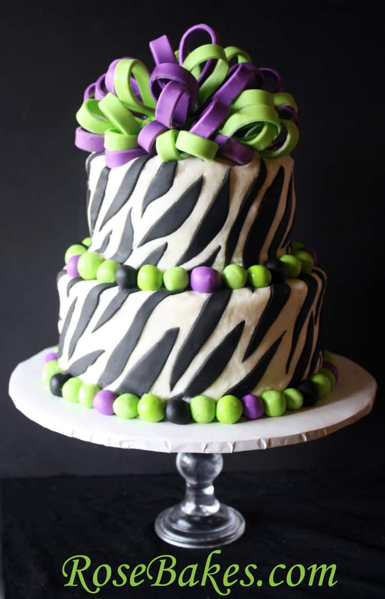Purple Zebra Cake Design : Lime Green & Purple Zebra Stripes Cake - Rose Bakes