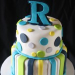 Stripes & Dots Baby Boy Shower Cake
