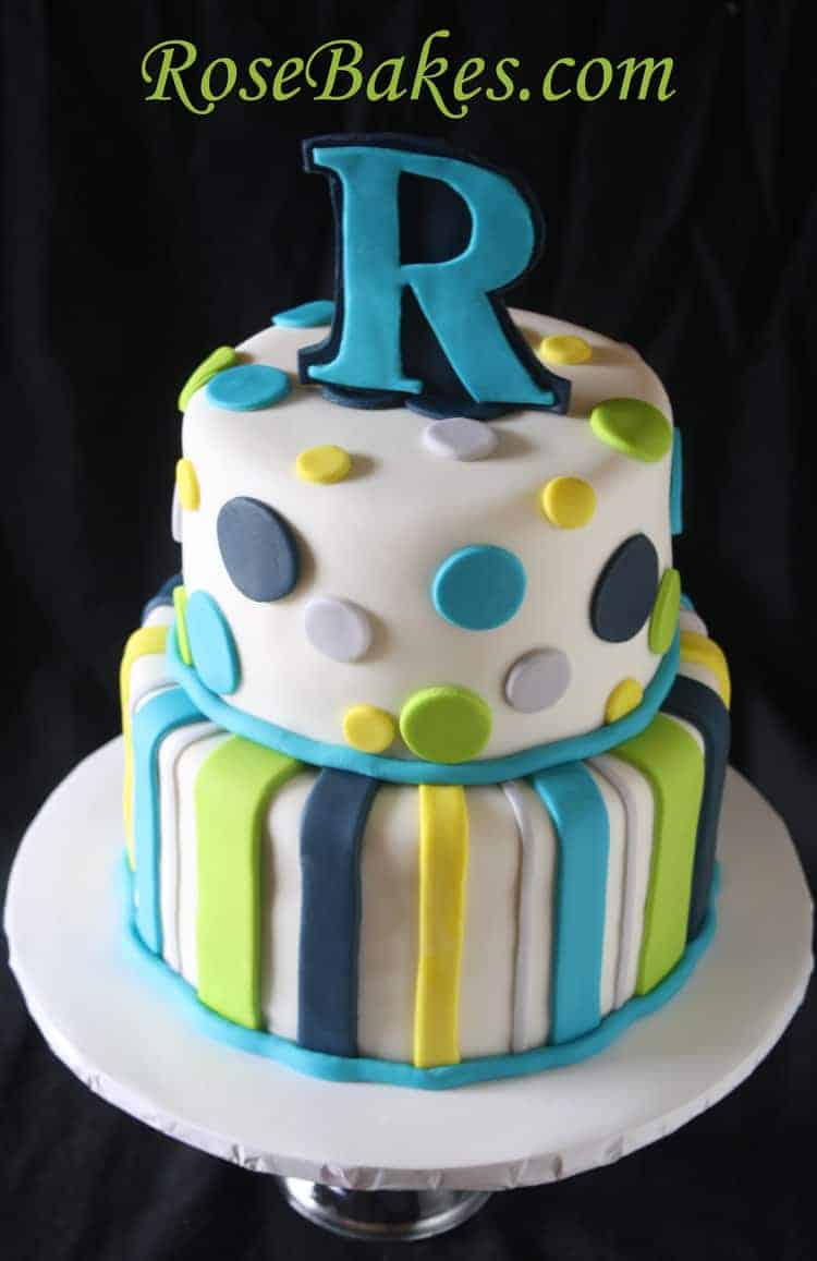 stripes dots baby boy shower cake rose bakes