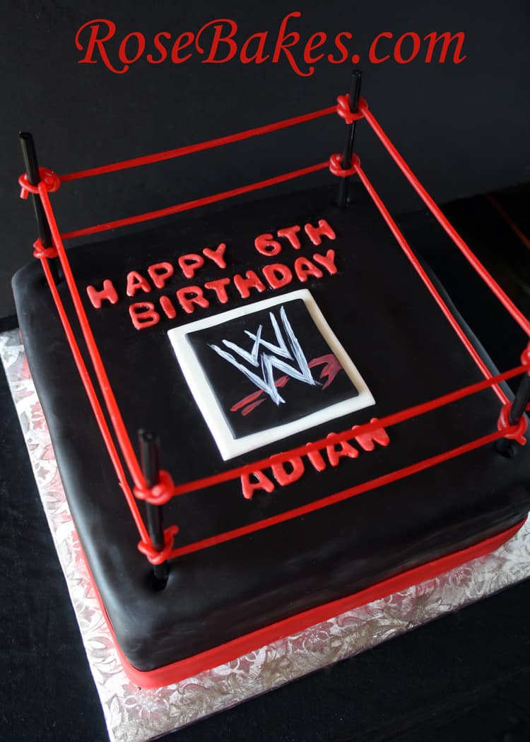 Awesome Wwe Wrestling Birthday Cake Rose Bakes Funny Birthday Cards Online Alyptdamsfinfo