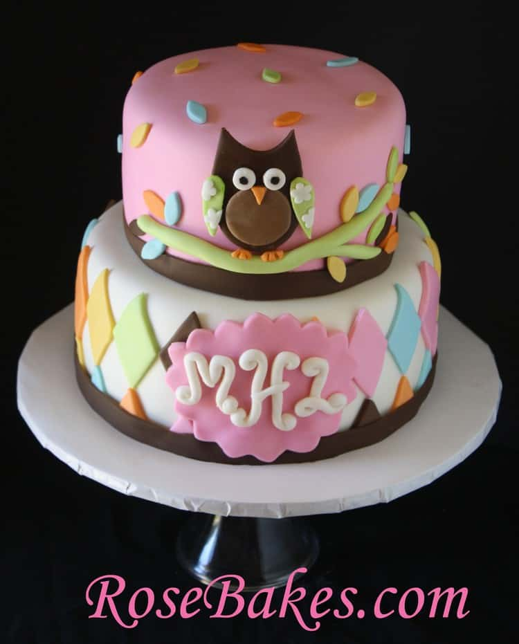 whoo loves you owl baby shower cake 2 rose bakes