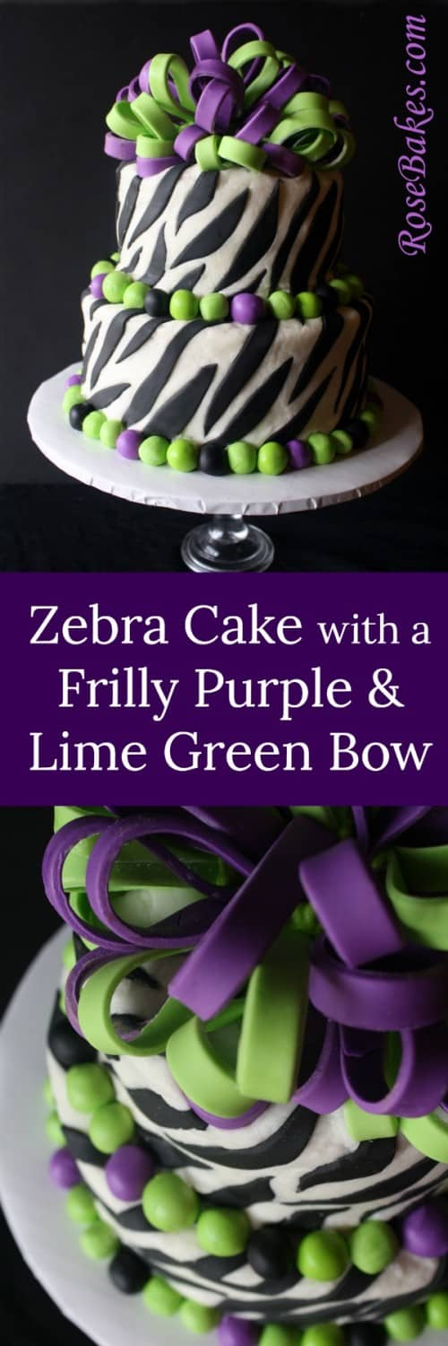 Zebra Cake with a Frilly Purple & Lime Green Bow  RoseBakes