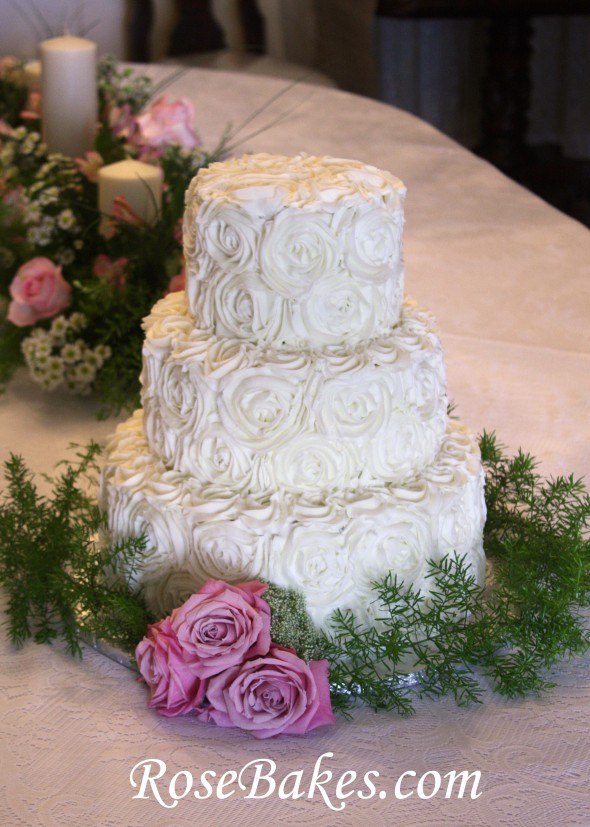Buttercream Roses Wedding Cake With Pink Roses