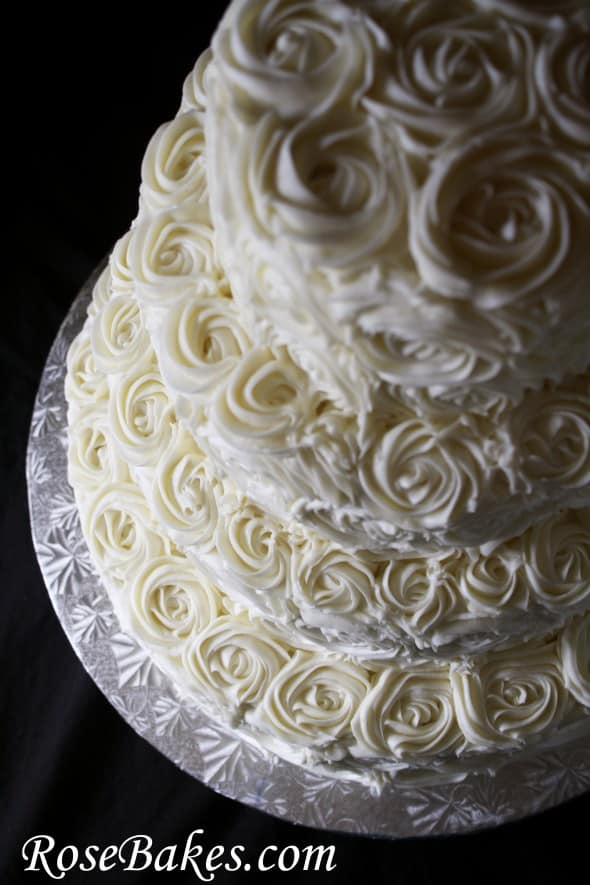 Ivory Buttercream Roses Wedding Cake With Lovebirds Cake