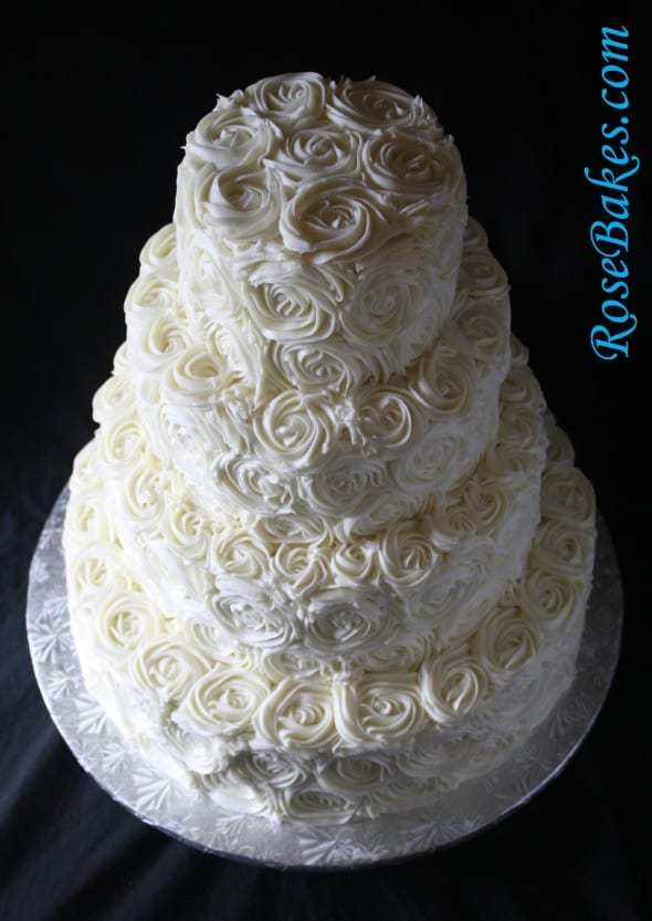 Rose Cake Design Icing : Ivory Buttercream Roses Wedding Cake with LoveBirds Cake ...