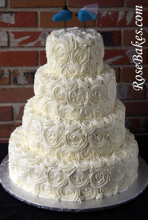 Ivory Buttercream Roses Wedding Cake with LoveBirds Cake ...