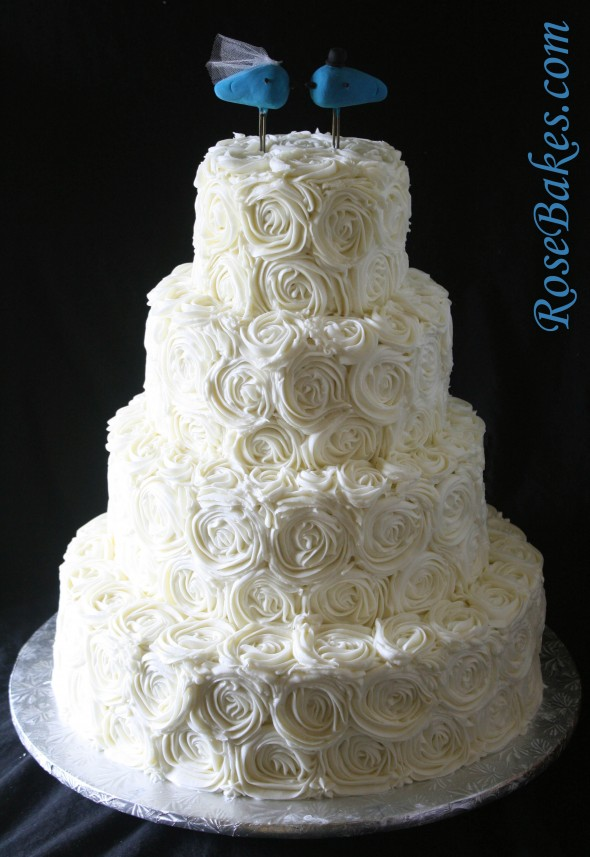 Ivory Buttercream Roses Wedding Cake With LoveBirds Topper