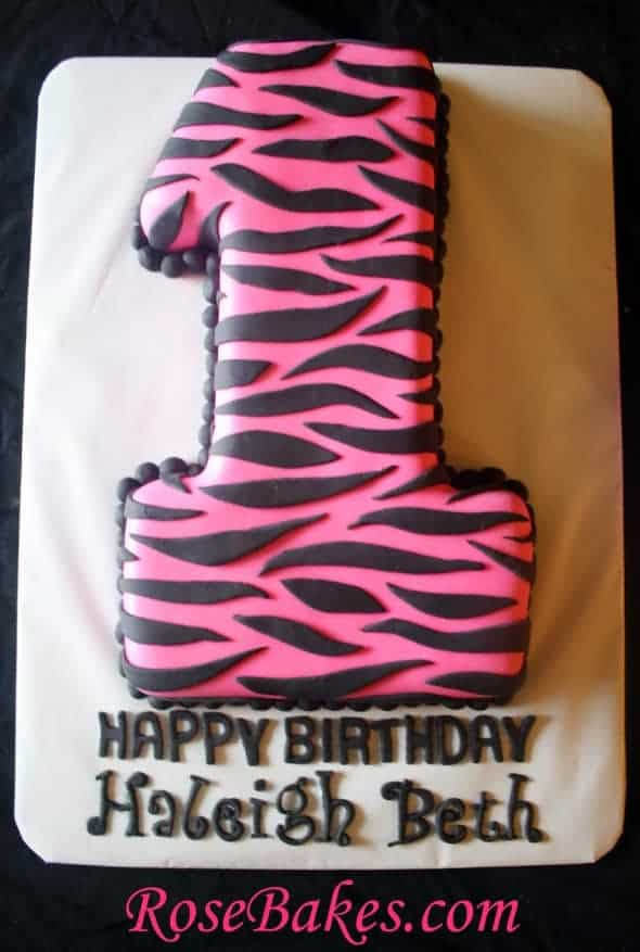 Hot Pink Zebra Cake with Princess Smash Cake