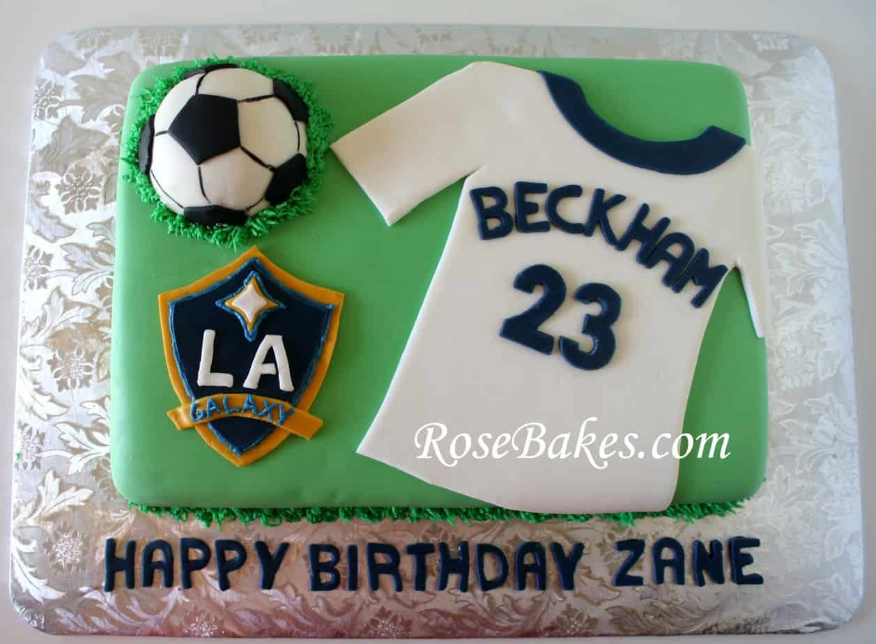 Awesome La Galaxy David Beckham Soccer Birthday Cake Above 3 Rose Bakes Personalised Birthday Cards Paralily Jamesorg