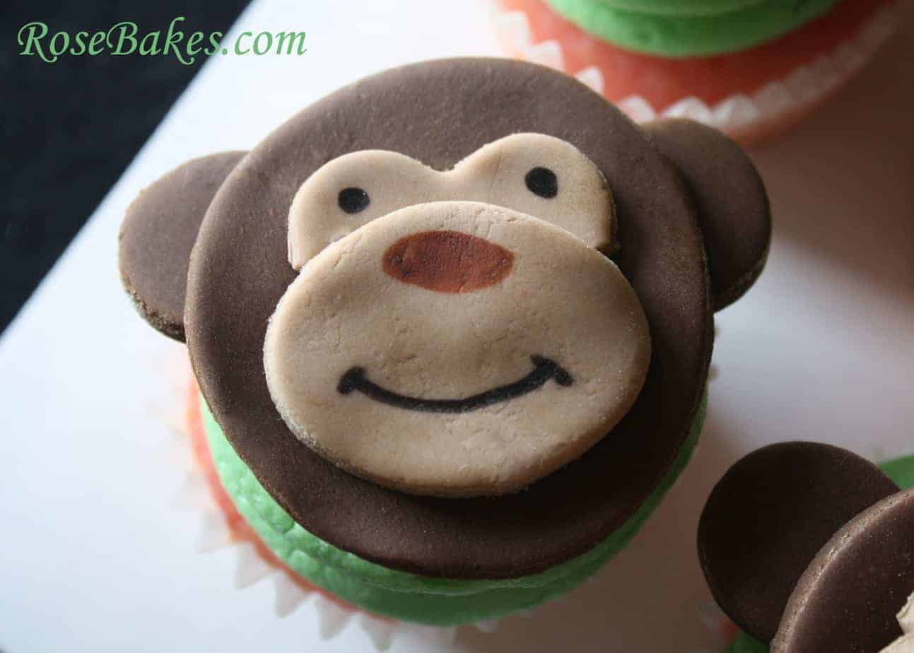 Neutral Baby Shower Monkey Face Cupcakes