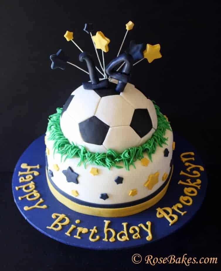 Cake Decorating Ideas For Soccer : Soccer Ball & Stars Cake