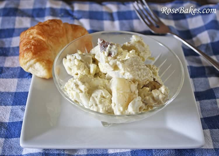 baked potato salad in bowl