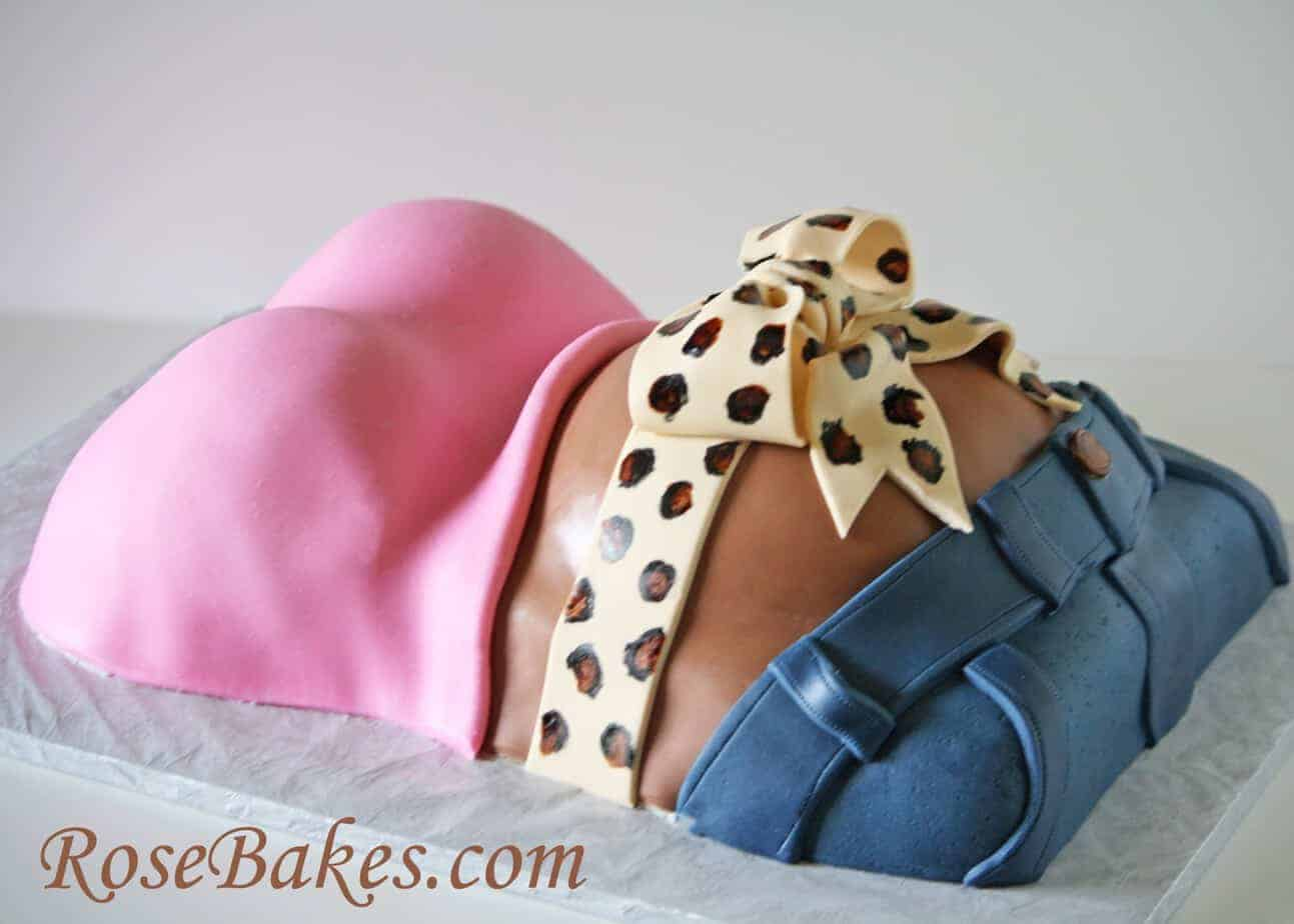 Baby Shower Cake Pregnant Belly Cake With Hot Pink Shirt