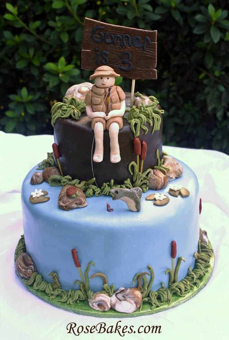 Little Boy Fishing Birthday Cake