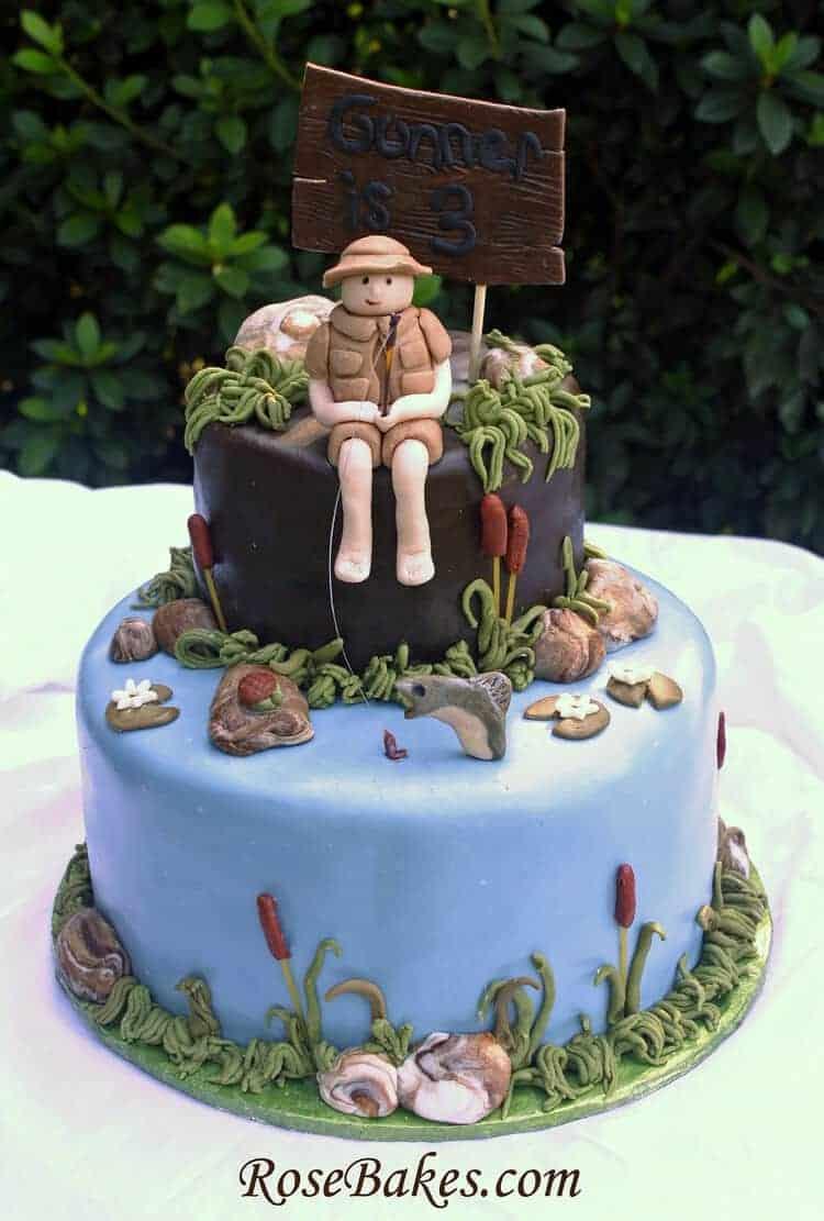 Little Boy Fishing Birthday Cake