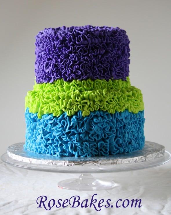 Outstanding Messy Buttercream Ruffles Birthday Cake Bright Bold Peacock Colors Personalised Birthday Cards Veneteletsinfo