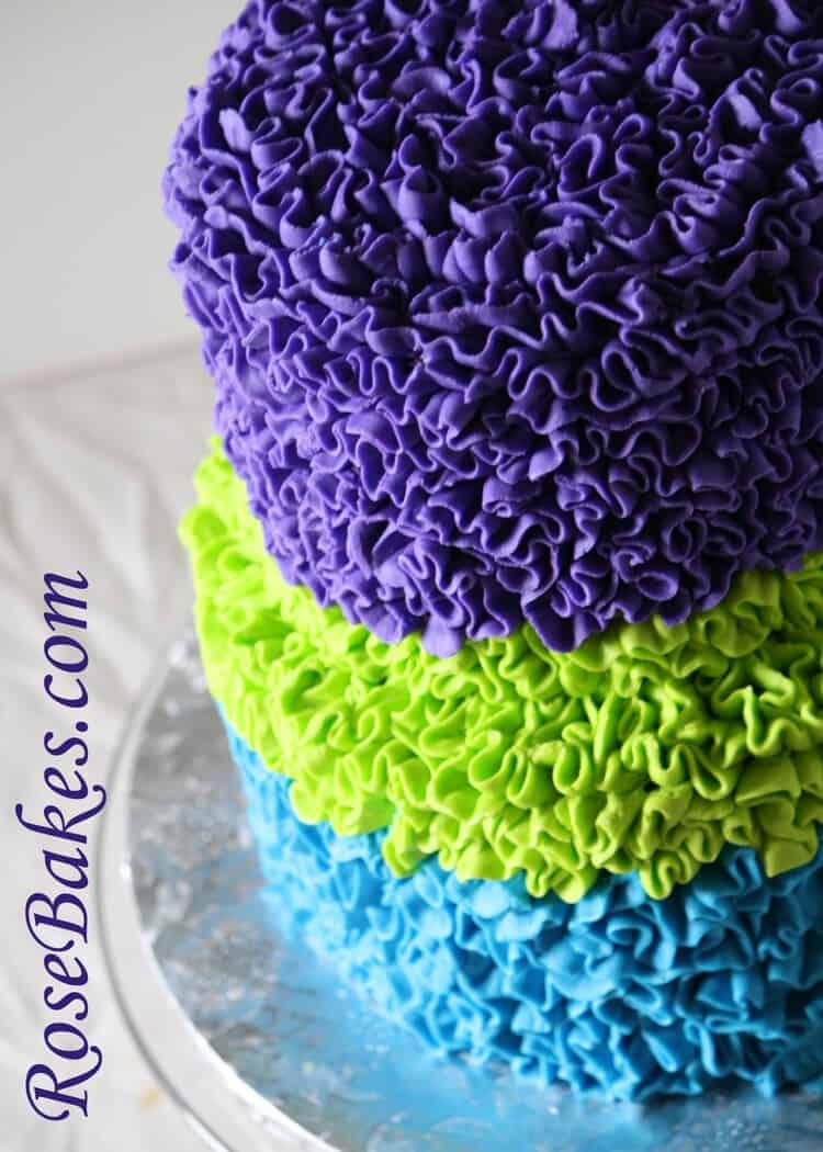 Groovy Messy Buttercream Ruffles Birthday Cake Bright Bold Peacock Colors Personalised Birthday Cards Veneteletsinfo