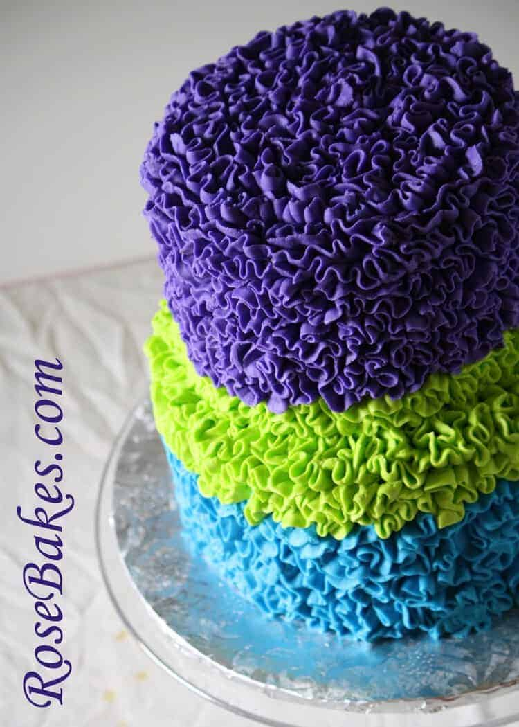 Messy Buttercream Ruffles Birthday Cake Bright Bold