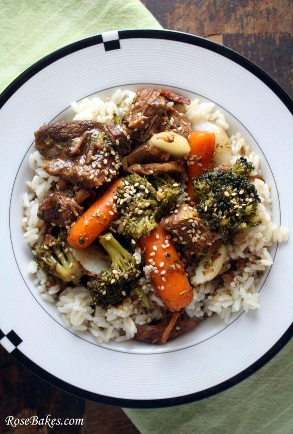 Slow Cooker Crock Pot Beef & Veggies Over Rice Above Close