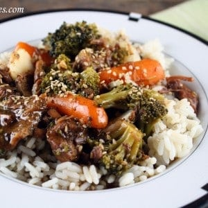 Slow Cooker Crock Pot Beef & Veggies Over Rice Close